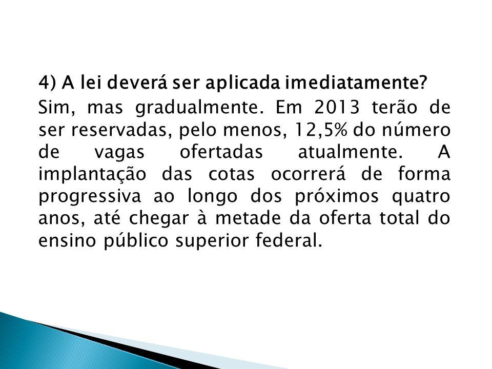 4) A lei deverá ser aplicada imediatamente? Sim, mas gradualmente. Em 2013 terão de ser reservadas, pelo menos, 12,5% do número de vagas ofertadas atu
