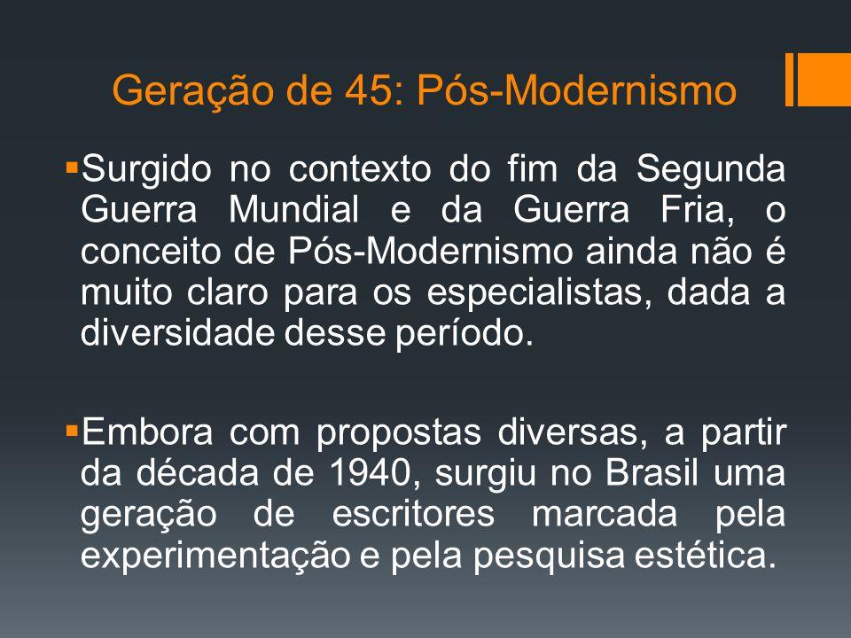 Geração de 45: Pós-Modernismo  Surgido no contexto do fim da Segunda Guerra Mundial e da Guerra Fria, o conceito de Pós-Modernismo ainda não é muito claro para os especialistas, dada a diversidade desse período.