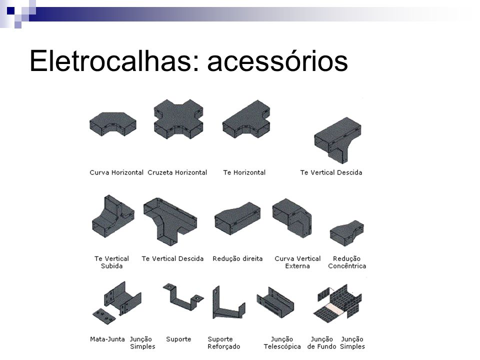 Eletrocalhas: acessórios