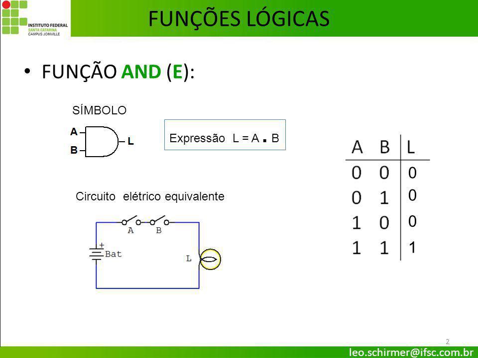 FUNÇÃO AND (E): Exemplo da utilização: L irá ligar (1) somente se as duas chaves A e B estiverem em nível lógico 1.