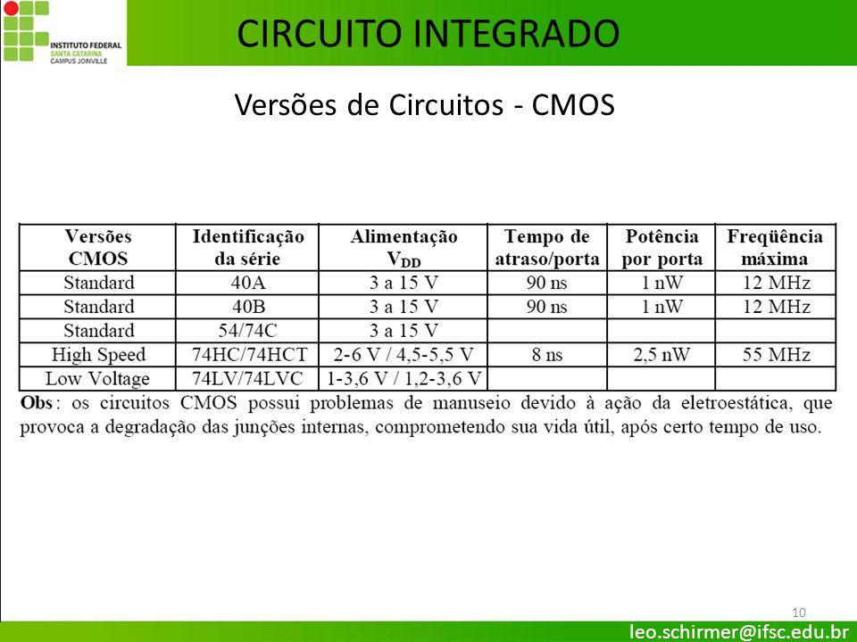 10 CIRCUITO INTEGRADO Versões de Circuitos - CMOS leo.schirmer@ifsc.edu.br