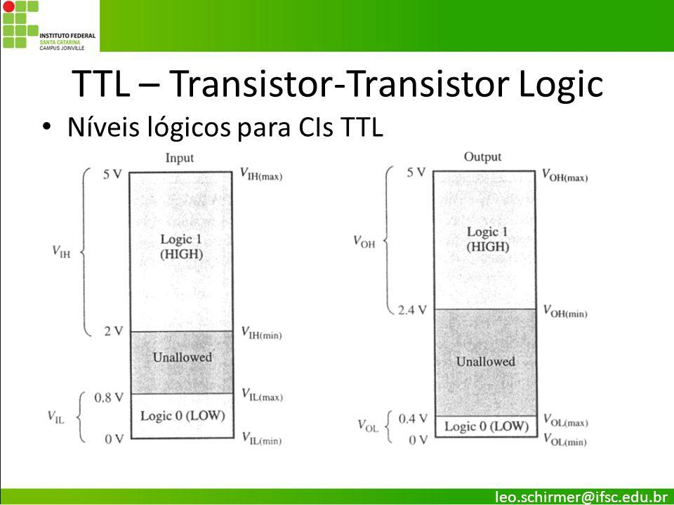 TTL – Transistor-Transistor Logic Níveis lógicos para CIs TTL leo.schirmer@ifsc.edu.br