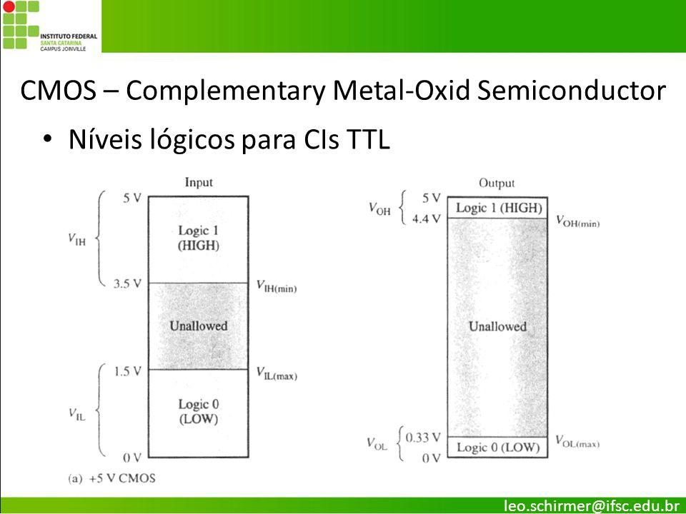 CMOS – Complementary Metal-Oxid Semiconductor Níveis lógicos para CIs TTL leo.schirmer@ifsc.edu.br