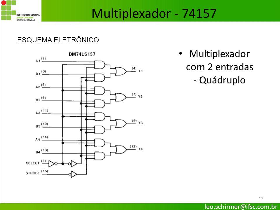 17 Multiplexador com 2 entradas - Quádruplo ESQUEMA ELETRÔNICO Multiplexador - 74157 leo.schirmer@ifsc.com.br