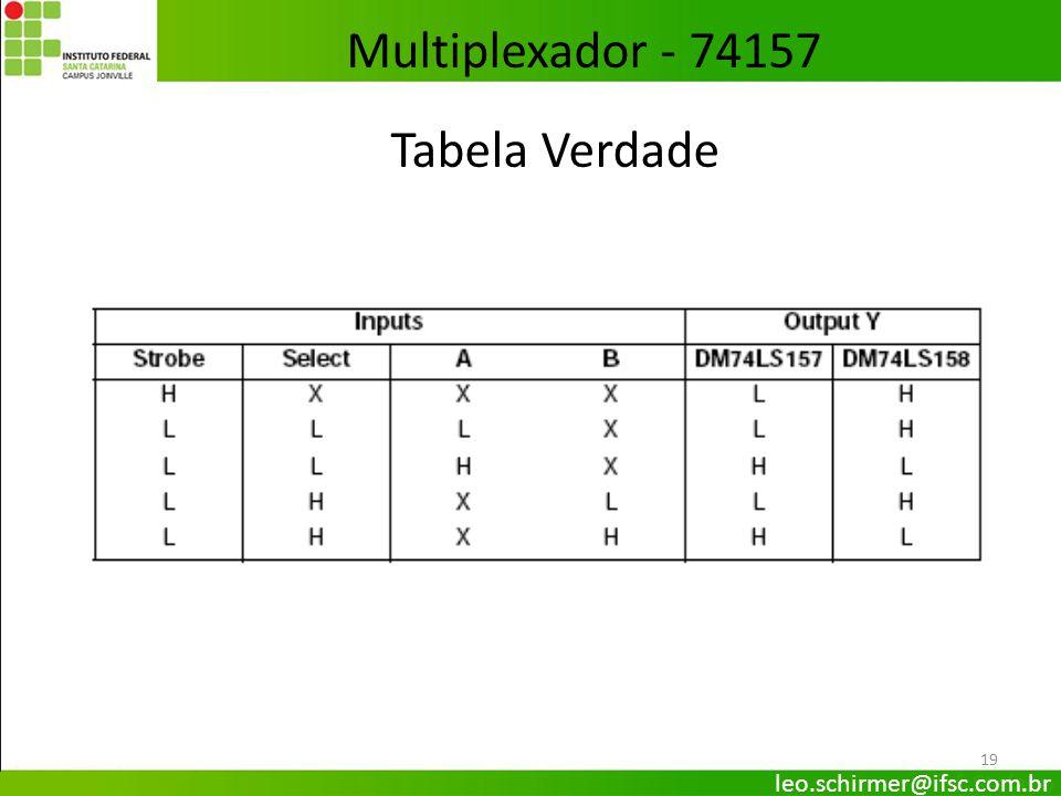 19 Tabela Verdade Multiplexador - 74157 leo.schirmer@ifsc.com.br