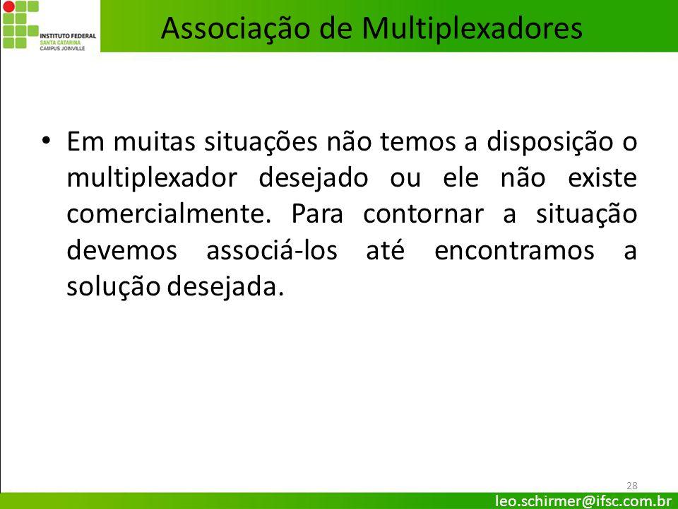 28 Associação de Multiplexadores Em muitas situações não temos a disposição o multiplexador desejado ou ele não existe comercialmente. Para contornar