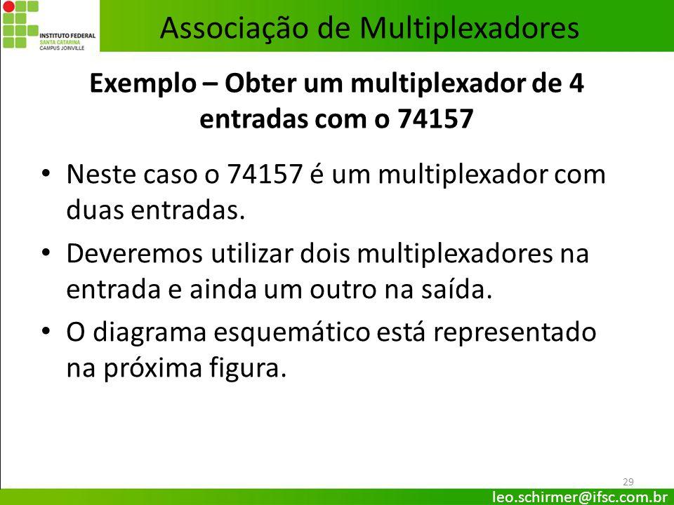 29 Exemplo – Obter um multiplexador de 4 entradas com o 74157 Neste caso o 74157 é um multiplexador com duas entradas. Deveremos utilizar dois multipl