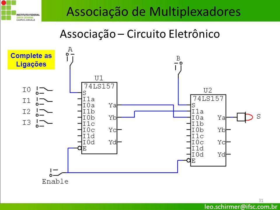 31 Associação – Circuito Eletrônico Complete as Ligações Associação de Multiplexadores leo.schirmer@ifsc.com.br
