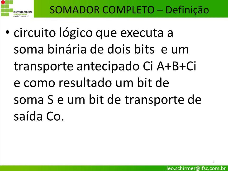 4 SOMADOR COMPLETO – Definição leo.schirmer@ifsc.com.br circuito lógico que executa a soma binária de dois bits e um transporte antecipado Ci A+B+Ci e