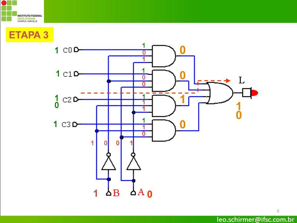 7 1 1 1 1 1 1 1 1 0 0 ETAPA 4 1 1 011 0 0 0 0 1 1 1 1 0 0 1 1 0 0 Multiplexador – Circuito Básico leo.schirmer@ifsc.com.br