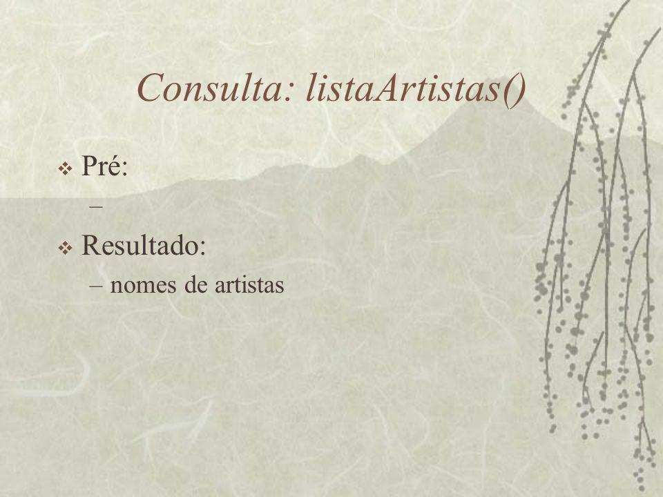Consulta: listaArtistas()  Pré: –  Resultado: –nomes de artistas