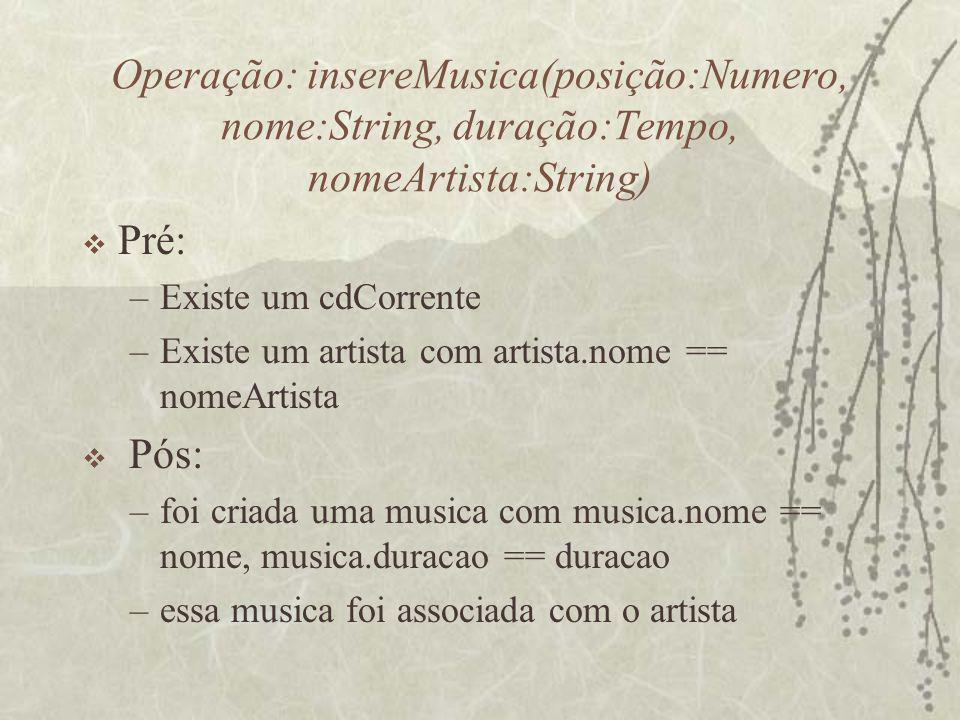 Operação: insereMusica(posição:Numero, nome:String, duração:Tempo, nomeArtista:String)  Pré: –Existe um cdCorrente –Existe um artista com artista.nom
