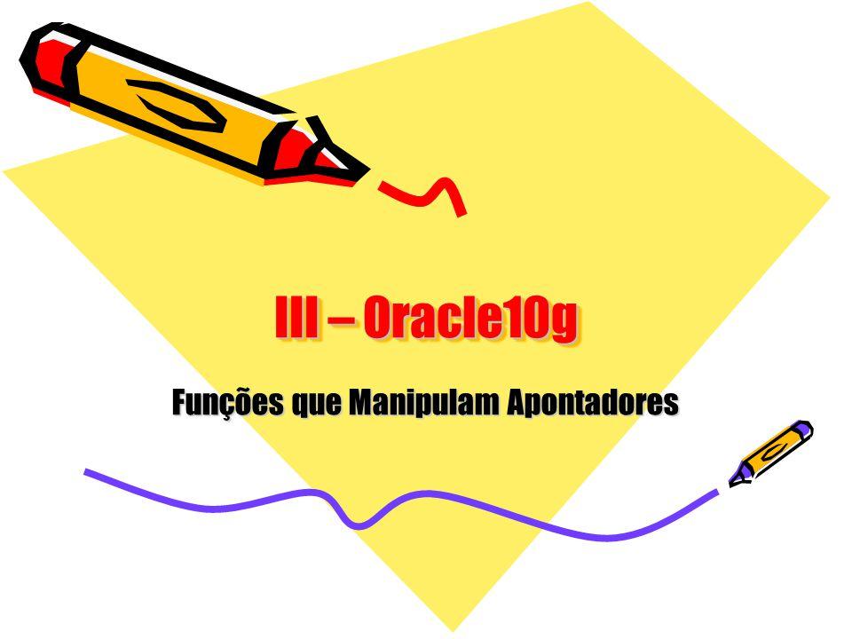 III – Oracle10g Funções que Manipulam Apontadores
