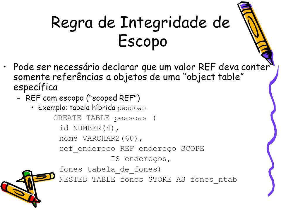 """Regra de Integridade de Escopo Pode ser necessário declarar que um valor REF deva conter somente referências a objetos de uma """"object table"""" específic"""
