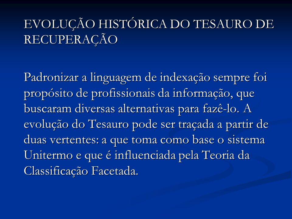 EVOLUÇÃO HISTÓRICA DO TESAURO DE RECUPERAÇÃO Padronizar a linguagem de indexação sempre foi propósito de profissionais da informação, que buscaram diversas alternativas para fazê-lo.