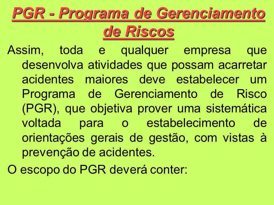 PGR - Programa de Gerenciamento de Riscos Assim, toda e qualquer empresa que desenvolva atividades que possam acarretar acidentes maiores deve estabelecer um Programa de Gerenciamento de Risco (PGR), que objetiva prover uma sistemática voltada para o estabelecimento de orientações gerais de gestão, com vistas à prevenção de acidentes.