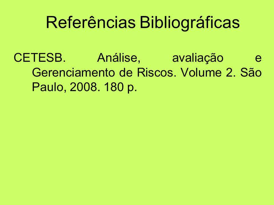 Referências Bibliográficas CETESB.Análise, avaliação e Gerenciamento de Riscos.