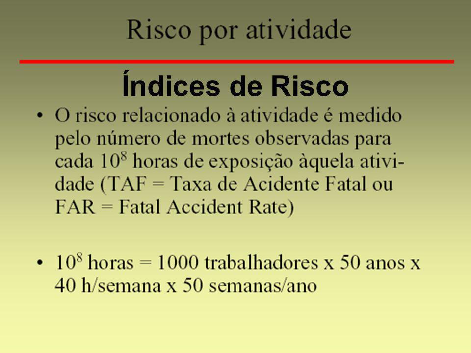 CAUSASRISCO SOCIAL (mortes/ano) RISCO INDIVIDUAL (mortes/ano) CHANCE DE MORTE/ANO Acidentes de Trânsito (VEÍCULOS A MOTOR) 8.1252,5 E -41 em 3.942 Incêndios Acidentais732,3 E -61 em 438.748 Suicídios (devido a alcoolismo, dificuldades financeiras, doenças mentais,etc) 1.1973,7 E -51 em 26.757 Riscos Social e Individual médios para os Habitantes no Município de São Paulo Fonte: IBGE, Anuário Estatístico, 1990 População do Estado: 32.028.569 habitantes (base: 01.07.91).