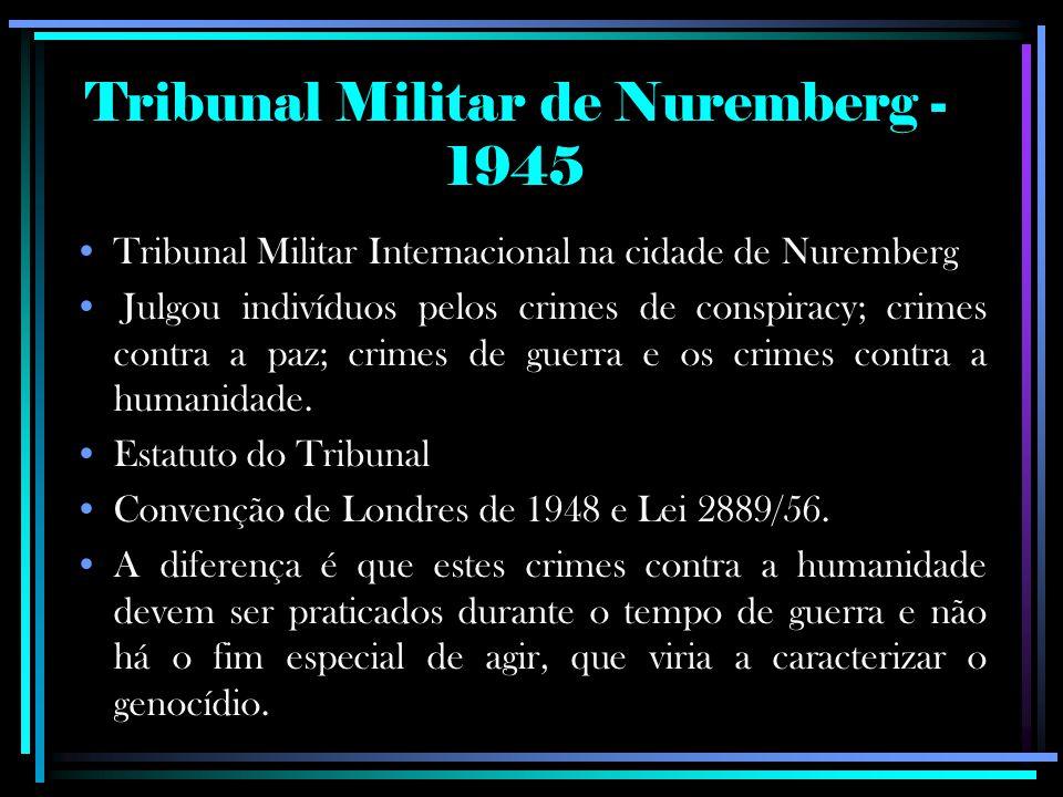 Tribunal Militar Internacional na cidade de Nuremberg Julgou indivíduos pelos crimes de conspiracy; crimes contra a paz; crimes de guerra e os crimes contra a humanidade.