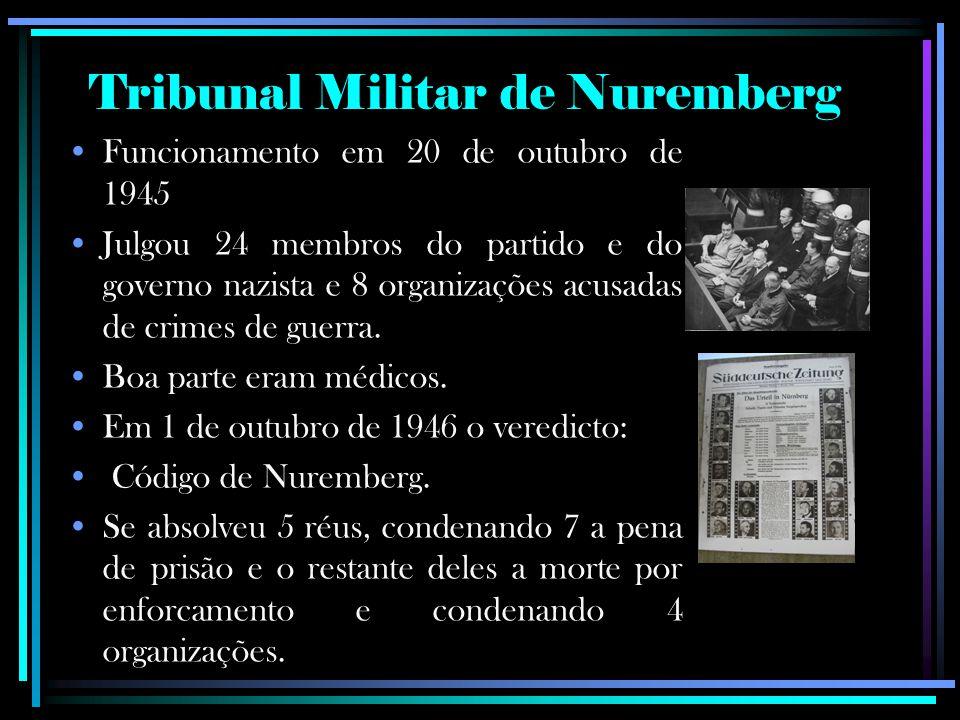 Funcionamento em 20 de outubro de 1945 Julgou 24 membros do partido e do governo nazista e 8 organizações acusadas de crimes de guerra. Boa parte eram