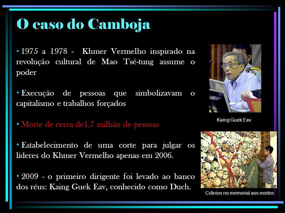 O caso do Camboja 1975 a 1978 - Khmer Vermelho inspirado na revolução cultural de Mao Tsé-tung assume o poder Execução de pessoas que simbolizavam o capitalismo e trabalhos forçados Morte de cerca de1,7 milhão de pessoas Estabelecimento de uma corte para julgar os líderes do Khmer Vermelho apenas em 2006.