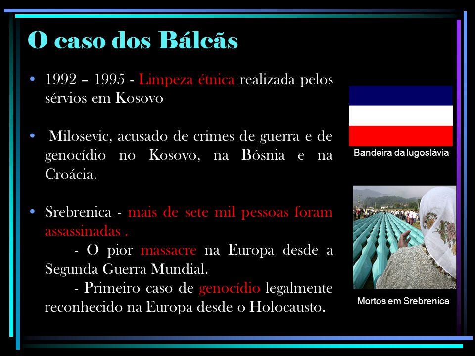 O caso dos Bálcãs 1992 – 1995 - Limpeza étnica realizada pelos sérvios em Kosovo Milosevic, acusado de crimes de guerra e de genocídio no Kosovo, na B