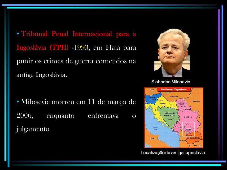 Tribunal Penal Internacional para a Iugoslávia (TPII) -1993, em Haia para punir os crimes de guerra cometidos na antiga Iugoslávia. Milosevic morreu e