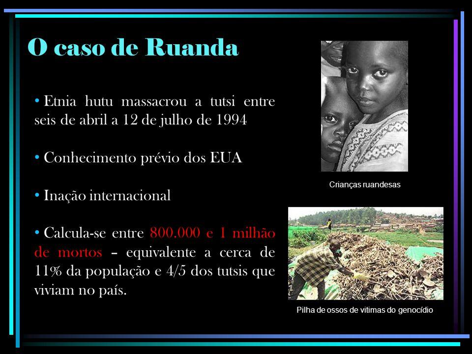 O caso de Ruanda Etnia hutu massacrou a tutsi entre seis de abril a 12 de julho de 1994 Conhecimento prévio dos EUA Inação internacional Calcula-se entre 800.000 e 1 milhão de mortos – equivalente a cerca de 11% da população e 4/5 dos tutsis que viviam no país.