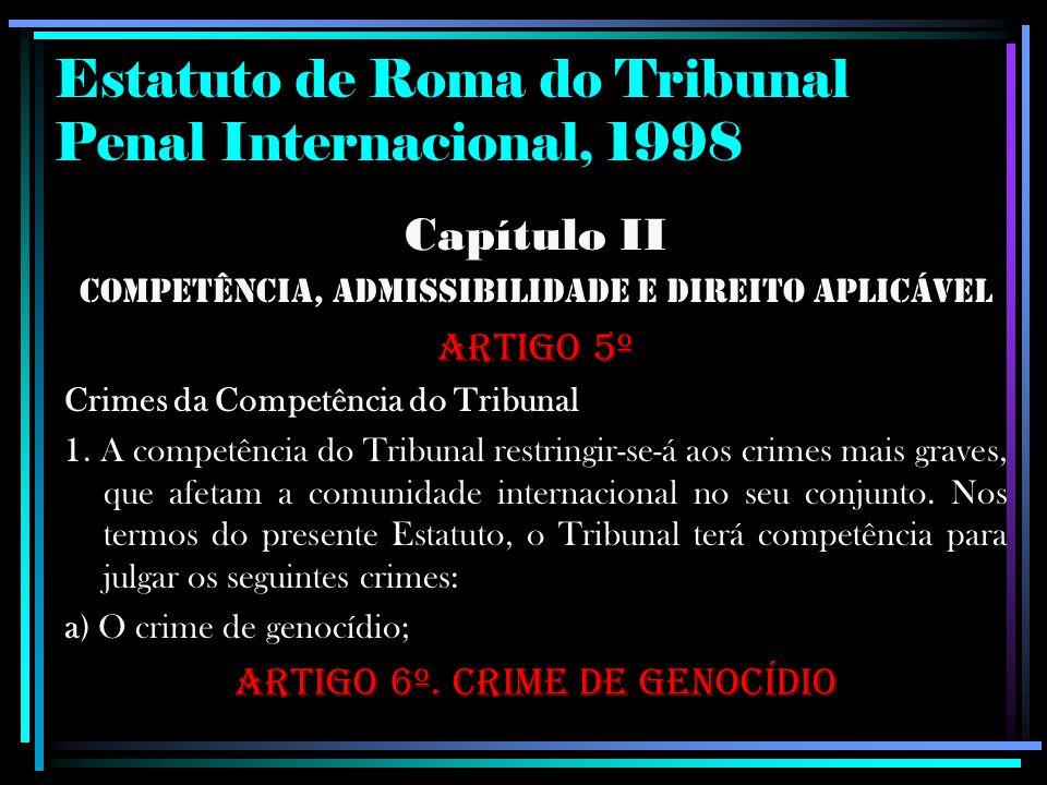 Estatuto de Roma do Tribunal Penal Internacional, 1998 Capítulo II Competência, Admissibilidade e Direito Aplicável Artigo 5º Crimes da Competência do
