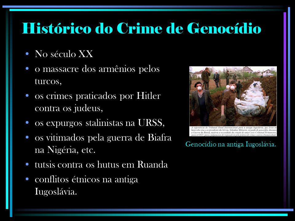 Genocídios QuandoEstimativa de mortos De nativos na América Espanhola séculos XVI e XVII 3 milhões De nativos na América do Norte século XIX3 milhões De Armênios na Primeira Guerra 19151,5 milhão De ucranianos na Ucrânia 1932-1933Entre 2,2 milhões e 10 milhões De Judeus na Alemanha 1941-19456 milhões