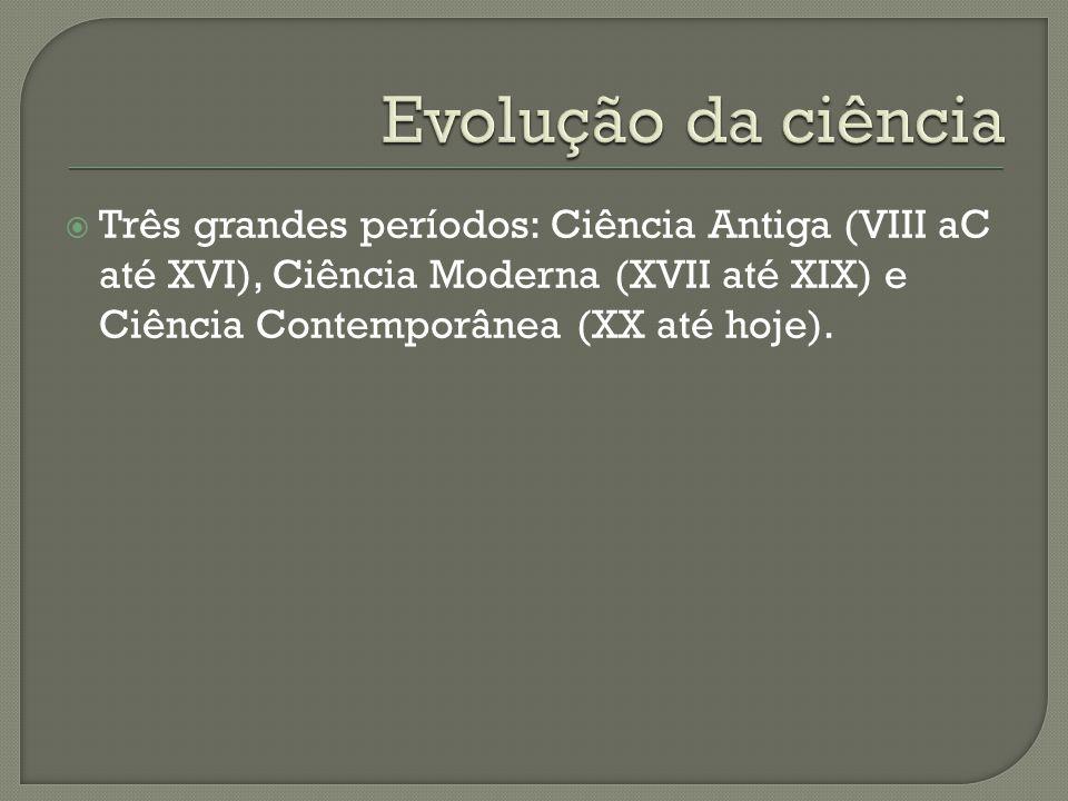  Três grandes períodos: Ciência Antiga (VIII aC até XVI), Ciência Moderna (XVII até XIX) e Ciência Contemporânea (XX até hoje).