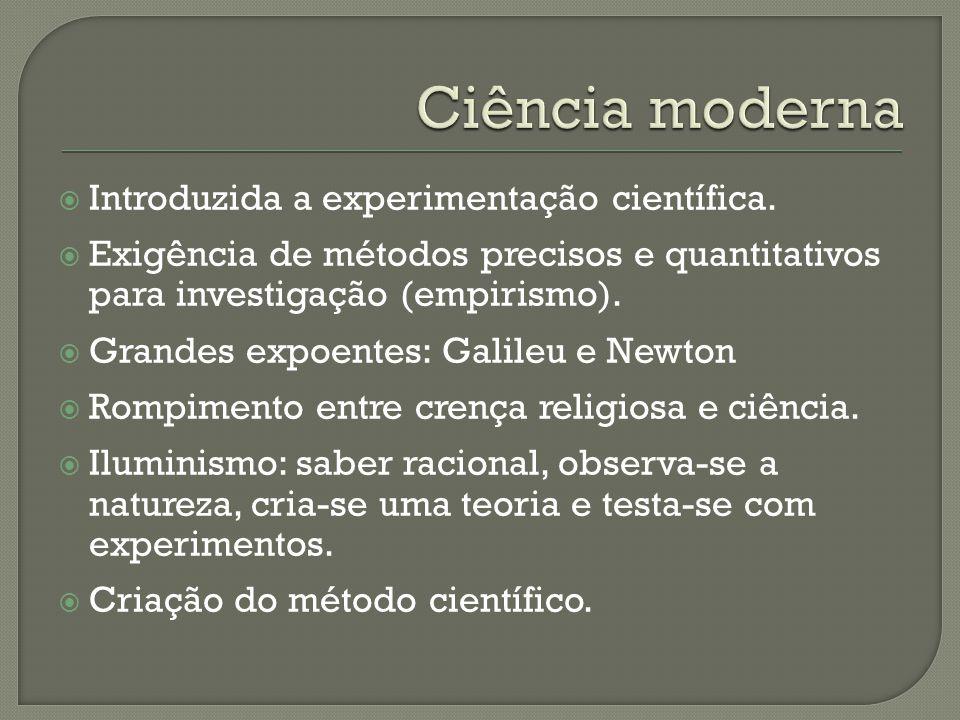  Introduzida a experimentação científica.  Exigência de métodos precisos e quantitativos para investigação (empirismo).  Grandes expoentes: Galileu
