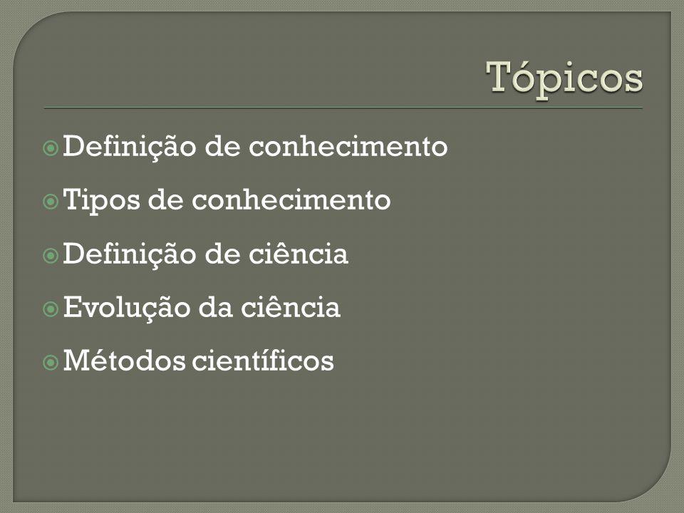  Definição de conhecimento  Tipos de conhecimento  Definição de ciência  Evolução da ciência  Métodos científicos