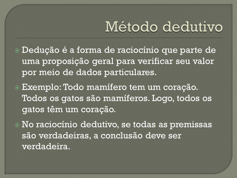  Dedução é a forma de raciocínio que parte de uma proposição geral para verificar seu valor por meio de dados particulares.  Exemplo: Todo mamífero