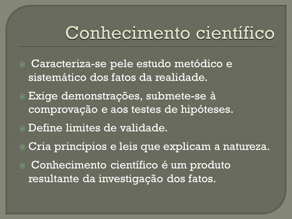  Caracteriza-se pele estudo metódico e sistemático dos fatos da realidade.