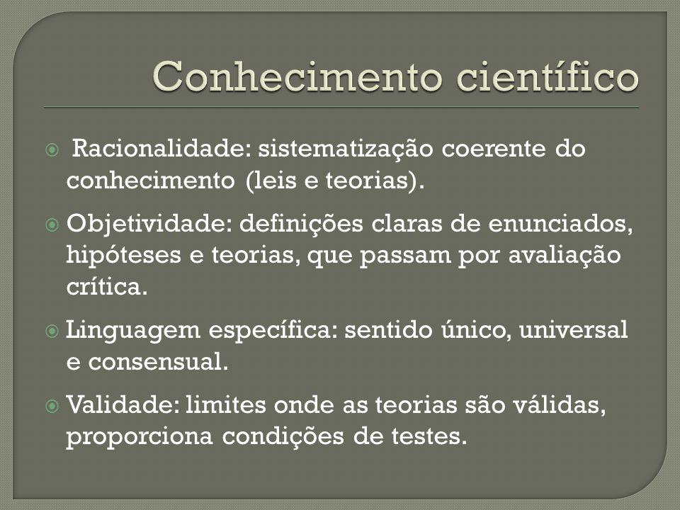  Racionalidade: sistematização coerente do conhecimento (leis e teorias).  Objetividade: definições claras de enunciados, hipóteses e teorias, que p