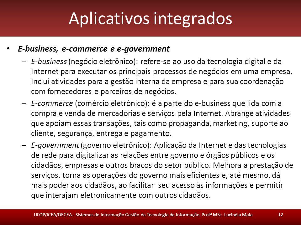 Aplicativos integrados E-business, e-commerce e e-government – E-business (negócio eletrônico): refere-se ao uso da tecnologia digital e da Internet p