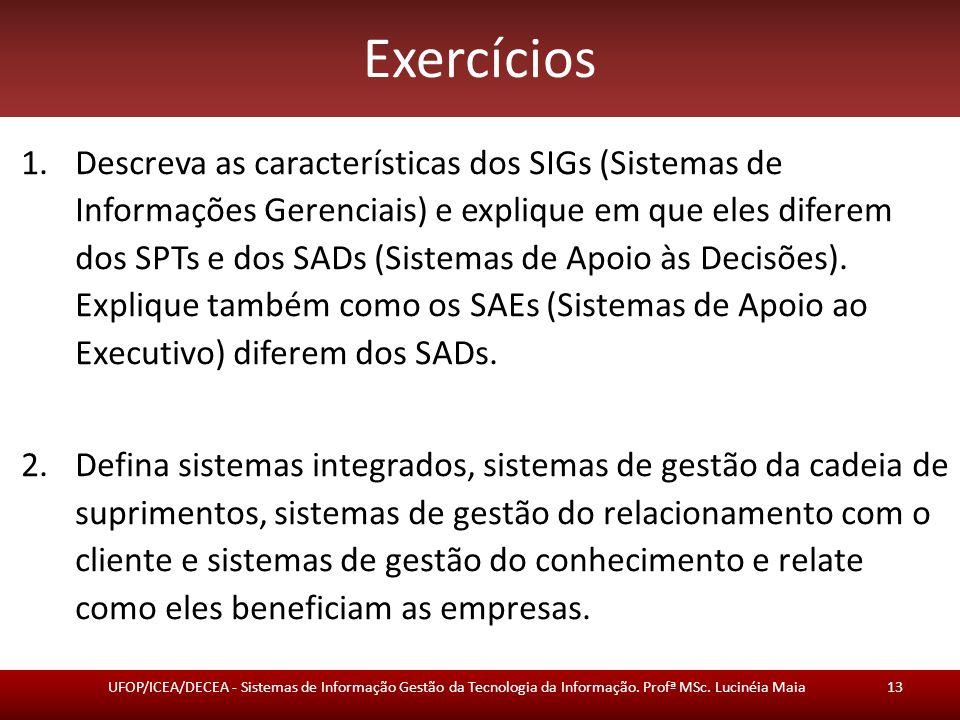 Exercícios 1.Descreva as características dos SIGs (Sistemas de Informações Gerenciais) e explique em que eles diferem dos SPTs e dos SADs (Sistemas de
