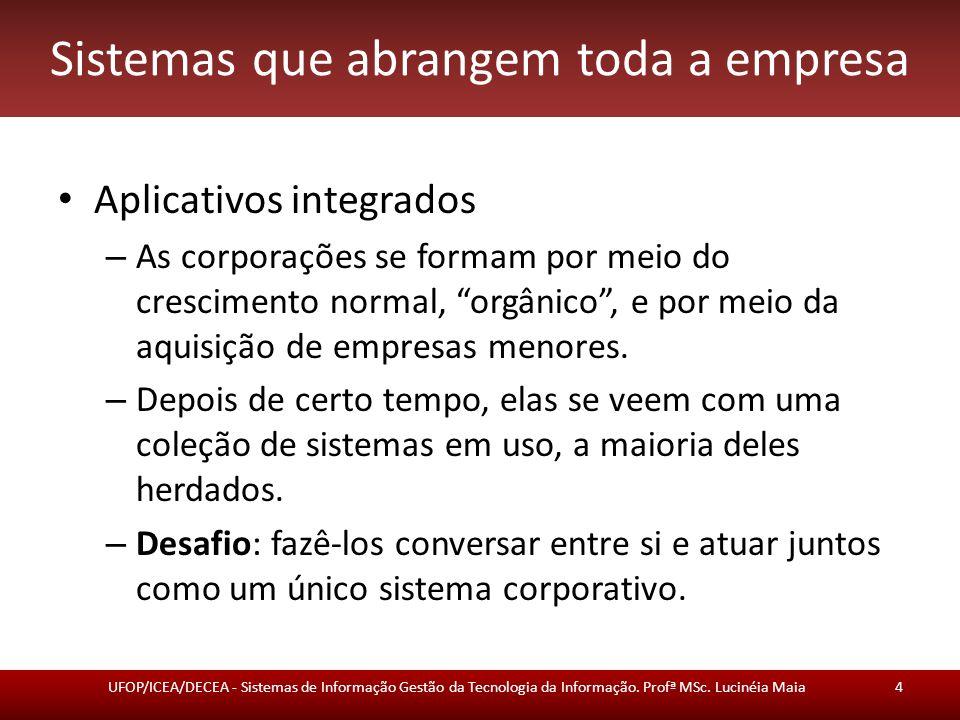 """Sistemas que abrangem toda a empresa Aplicativos integrados – As corporações se formam por meio do crescimento normal, """"orgânico"""", e por meio da aquis"""