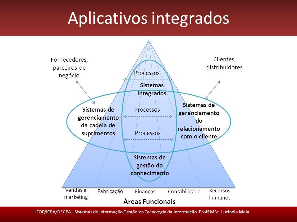 Aplicativos integrados Sistemas Integrados ou Sistemas de Planejamento de Recursos Empresariais (Enterprise Resource Planning - ERP) – Integram processos de negócio nas áreas de manufatura e produção, finanças e contabilidade, vendas e marketing e recursos humanos.