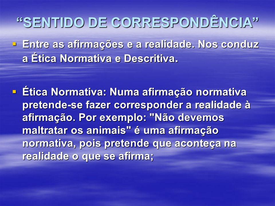 SENTIDO DE CORRESPONDÊNCIA  Entre as afirmações e a realidade.