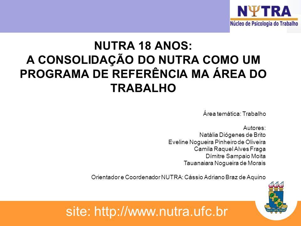 NUTRA 18 ANOS: A CONSOLIDAÇÃO DO NUTRA COMO UM PROGRAMA DE REFERÊNCIA MA ÁREA DO TRABALHO site: http://www.nutra.ufc.br Área temática: Trabalho Autore