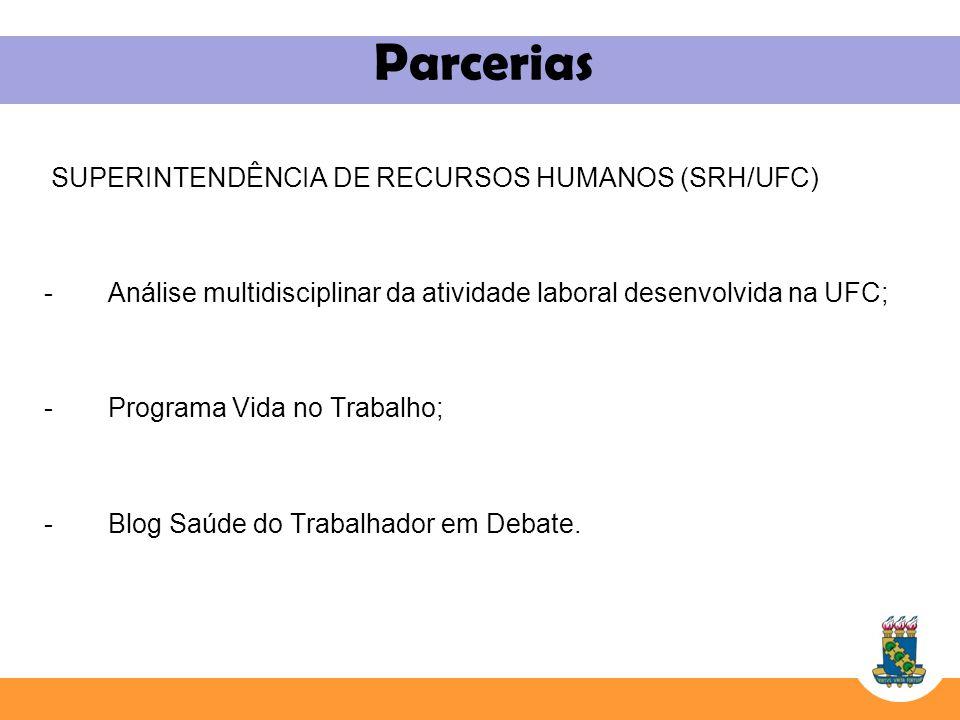 Parcerias SUPERINTENDÊNCIA DE RECURSOS HUMANOS (SRH/UFC) -Análise multidisciplinar da atividade laboral desenvolvida na UFC; -Programa Vida no Trabalh