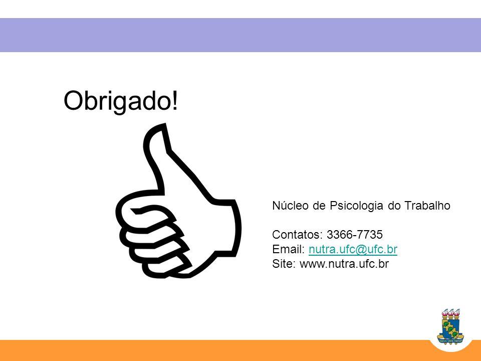 Obrigado! Núcleo de Psicologia do Trabalho Contatos: 3366-7735 Email: nutra.ufc@ufc.brnutra.ufc@ufc.br Site: www.nutra.ufc.br