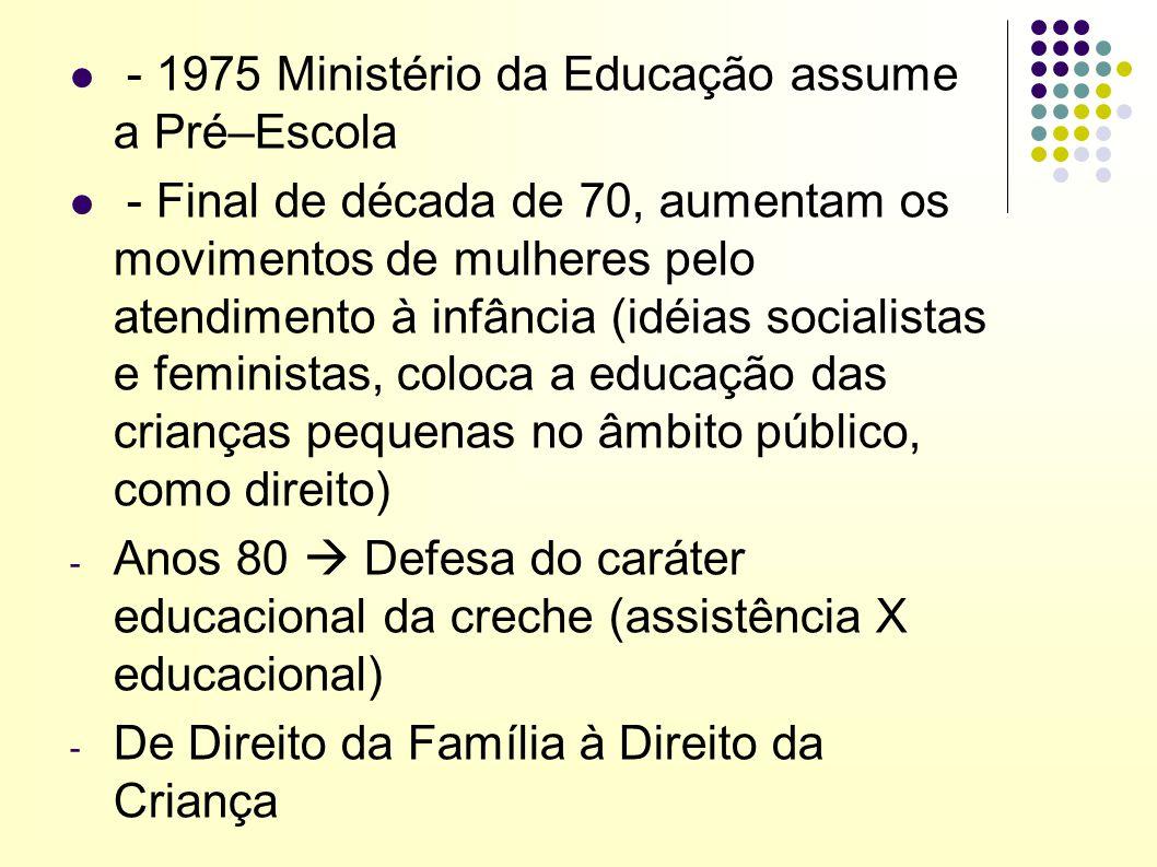 - 1975 Ministério da Educação assume a Pré–Escola - Final de década de 70, aumentam os movimentos de mulheres pelo atendimento à infância (idéias soci