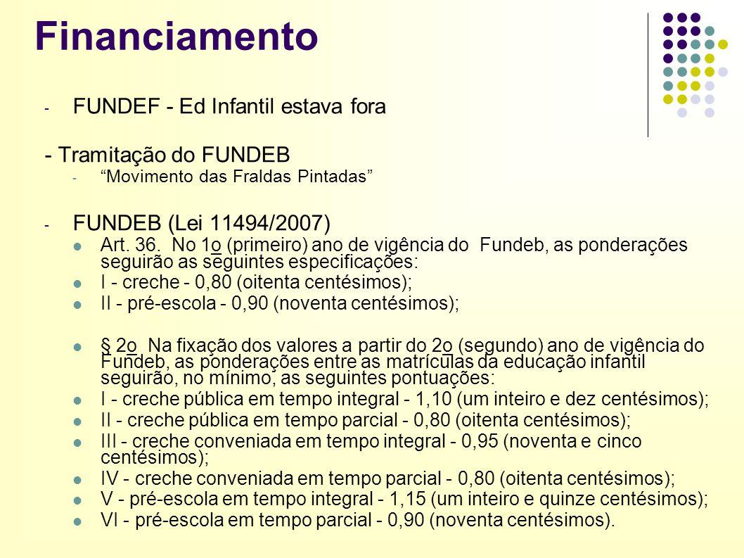 """Financiamento - FUNDEF - Ed Infantil estava fora - Tramitação do FUNDEB - """"Movimento das Fraldas Pintadas"""" - FUNDEB (Lei 11494/2007) Art. 36. No 1o (p"""