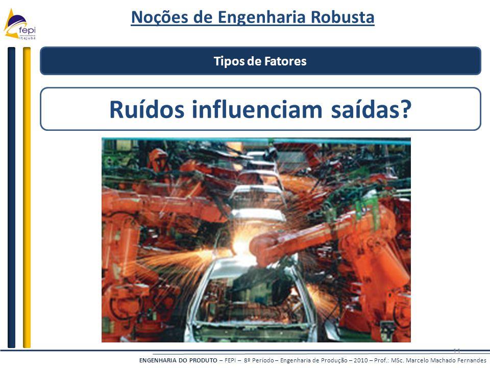 ENGENHARIA DO PRODUTO – FEPI – 8º Período – Engenharia de Produção – 2010 – Prof.: MSc. Marcelo Machado Fernandes 11 Tipos de Fatores Ruídos influenci