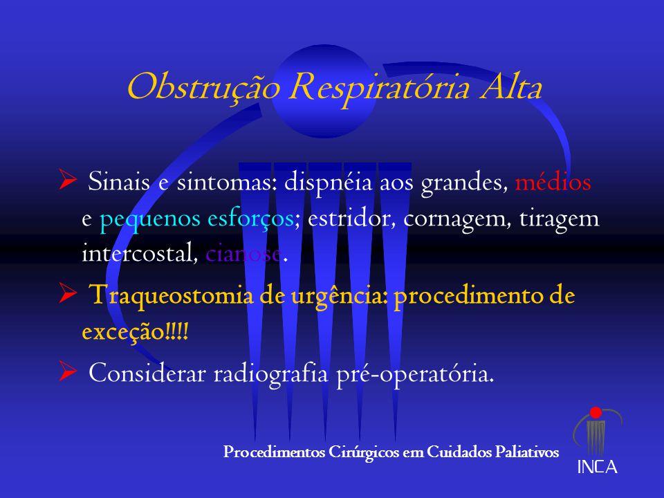 Obstrução Intestinal  Neoplasia de base + metástases peritoneais (ovário, cólon, estômago) : 70%  Causas benignas (aderências, enterite actínica, hérnias internas): 30%  Adotar medidas iniciais clássicas (CNG, hidratação, analgesia) Procedimentos Cirúrgicos em Cuidados Paliativos