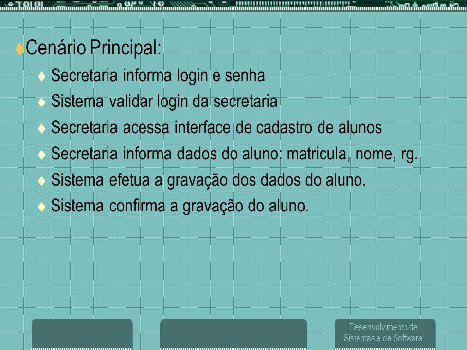 Desenvolvimento de Sistemas e de Software  Cenário Principal:  Secretaria informa login e senha  Sistema validar login da secretaria  Secretaria a