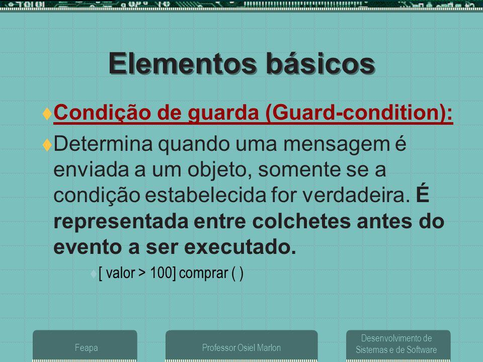 Desenvolvimento de Sistemas e de Software FeapaProfessor Osiel Marlon Elementos básicos  Condição de guarda (Guard-condition):  Determina quando uma